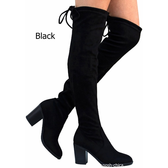 c688ad4341 Shoes | New Black Stretchy Over Knee Drawstring Heel Boots | Poshmark